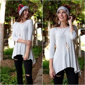 Heather Gray Thermal Knit Tunic
